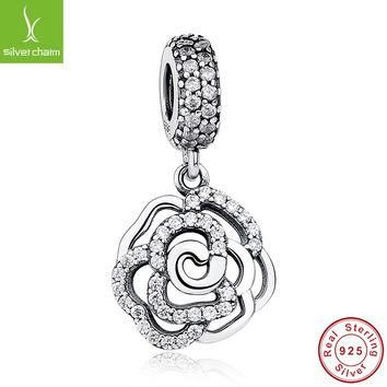 Genuine 925 Sterling Silver Angel Wings Charm With Clear CZ Fit Original Pandora Brace