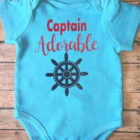 Captian Adorable bodysuit, Novelty Baby Shower Gift -  Humerous Baby Onepiece - - Funny Onepiece for Boys