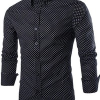 jeansian Men's Fashion Leisure Slim Long Sleeves Dress Shirts Tops 8736