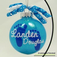 Baby's First Christmas Personalized Glass Ornament from SimpleXpressions-Personalized!
