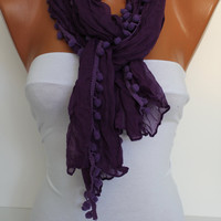 Purple Shawl Scarf - Headband Necklace Cowl
