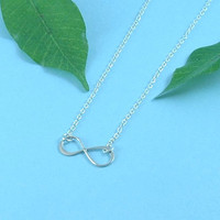Infinity Necklace, Silver Eternity Necklace, Silver Infinity Charm, Wedding Jewelry