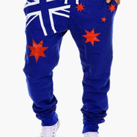 Flag Print Drawstring Pants