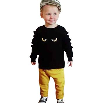 Kids baby clothes set Toddler Boys Infant Baby Cartoon Eyes Print Tops+Pants Clothes Outfit Set Suit drop shipping