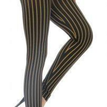 Vertical Striped High Waist Seamless Leggings Size Small
