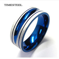 Fashion Jewelry 316L Stainless Steel Blue Ring Titanium Ring Free Shipping