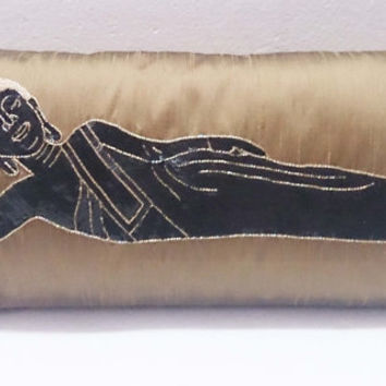 modern beige metallic buddha sequins figurative pillow in size 9 x 20 inches provided with the filler,gift,earthy,yoga silk pillow