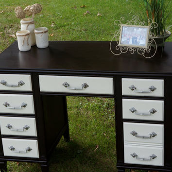 Elegant Refurbished Desk- Java Brown Stain and Antique White