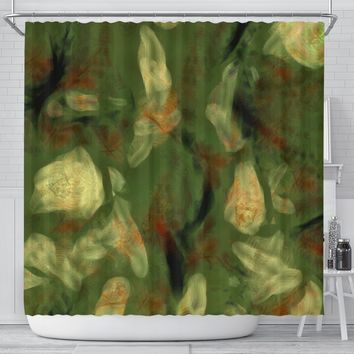 Abstract Camo Hidden Skulls Shower Curtain