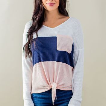 There's A Thin Line Top-Navy/Pink