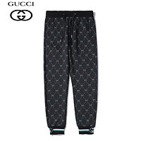 GUCCI hot seller of casual lovers' fashionable full-printed trousers with small feet Black