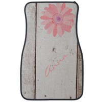 Rustic Wood With Pink Flowers Car Mats Car Mat