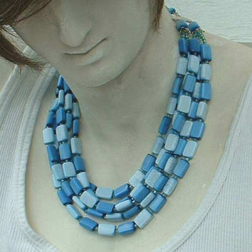JAPAN 5-Strand Blue Moonglow Lucite Necklace Vintage Jewelry