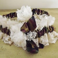 Camouflage and Ivory Lace Shabby Chic Wedding Bridal Garter Set Made to Order Choice of Lace Color