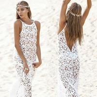 Sexy white lace dress MKS15ES by Loulee's Boutique
