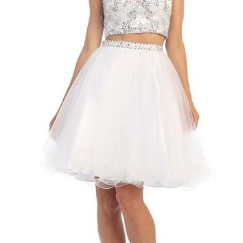 Two Piece Set Wedding Short Dress