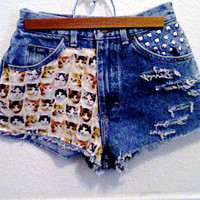 High Waisted Studded Cats Light Blue Distressed Denim Shorts