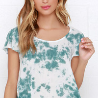 Fit to Fly Green and Ivory Tie-Dye Crop Top