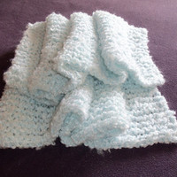 """Baby Clouds Baby Blanket Knitted Afghan 30"""" x 36"""" Baby Blue Afghan, Pale Blue Crib Blanket, Baby Bedding, Pastel Baby Cover, Youth Blanket"""