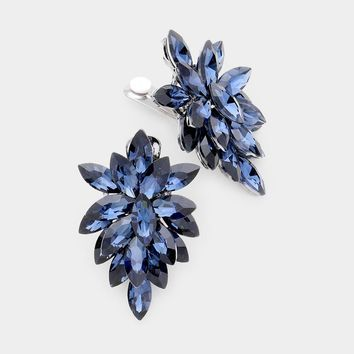 Oval Crystal Cluster Clip On Evening Earrings