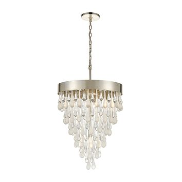 Morning Frost 5-Light Chandelier in Silver Leaf with Clear and Frosted Glass Drops