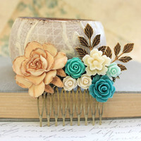 Teal Bridal Hair Comb Country Wedding Romantic Flower Collage Cream Ivory Rose Antique Gold Brass Leaf Leaves Floral Hair Accessories