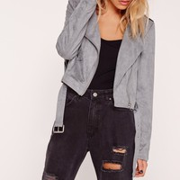 Missguided - Faux Suede Biker Jacket Steel Grey