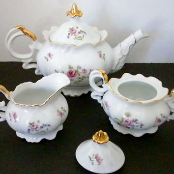 Teapot, Creamer, Sugar Bowl, E.W.China French Rose