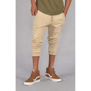 French Terry Knit Jogger Pants w/ Zipper Pocket in Sand