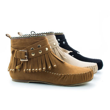 Kalisa63 Round Toe Studded Ankle Wrap Fringe Tribal Moccasin Flat Booties