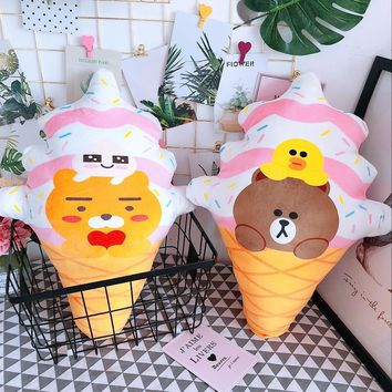 1pc 45cm cartoon ice cream bear rabbit lion plush cushion sweet hold pillow stuffed toy girl boy creative gift