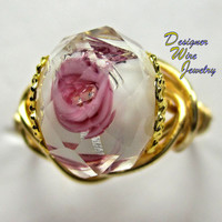 DWJ0218 Romantic Faceted Lampwork Rose White & Pink Wire Wrap Ring All Sizes