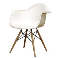 WoodLeg Dining Arm Chair, White