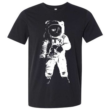 Space Astronaut Man on The Moon White Print Asst Colors Mens Fitted Tee
