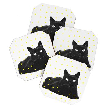 Elisabeth Fredriksson A Black Cat Coaster Set