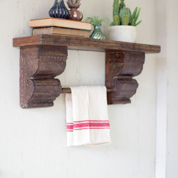 Recycled Wooden Shelf with Antique Wooden Brackets