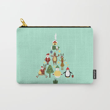 Christmas tree with reindeer, Santa Claus and bear Carry-All Pouch by Graf Illustration