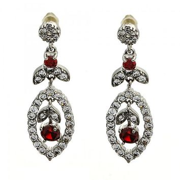 Gold Layered 02.206.0037 Long Earring, Leaf and Flower Design, with Garnet Cubic Zirconia and White Micro Pave, Polished Finish, Rhodium Tone