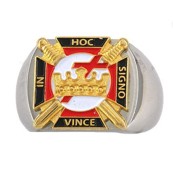 Knights Templar In Hoc Signo Vince Masonic Stainless Steel Ring