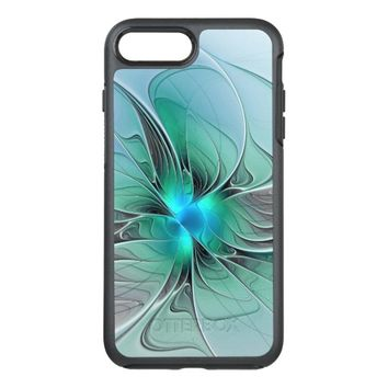 Abstract With Blue, Modern Fractal Art OtterBox Symmetry iPhone 7 Plus Case