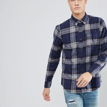 Hollister Flannel Shirt in Navy and Gray Buffalo Plaid at asos.com