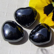 Solid Black Hematite Crystal Puffy Gemstone Heart (One only) 30mm
