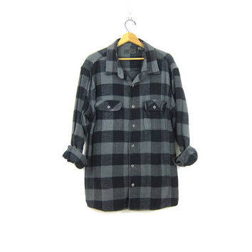 Black and Gray Buffalo Check Shirt Vintage checkered plaid flannel oversized shirt Distressed grunge RUGGED tomboy shirt COED unisex Size XL