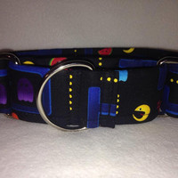 """PacMan Black Martingale or Quick Release Collar 1.5"""" Martingale Collar or 2"""" Martingale Collar"""