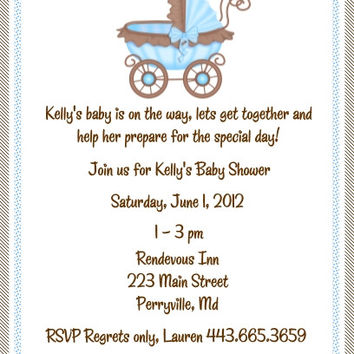 Brown and Blue Baby Shower Invitations