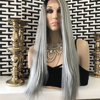 "Silver Gray Hair Lace Front Wig 28"" 110"