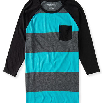3/4 Sleeve Rugby Stripe Pocket Tee