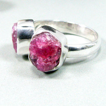 Raw Pink Tourmaline Ring Silver - Raw Tourmaline Ring Sterling Silver, Multi Stone Ring, Rubellite Ring , Rough Tourmaline, Handmade Silver