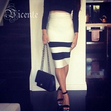 VJ. GOCHI Striped Bodycon Skirt