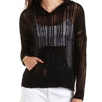 Open Weave Pullover Hoodie by Charlotte Russe - Black
